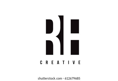 RF R F White Letter Logo Design with Black Square Vector Illustration Template.