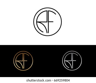 RF round circle shape initial letter logo