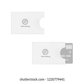 RFID blocking sleeve. Credit card holder. Bank card envelope. Vector template.