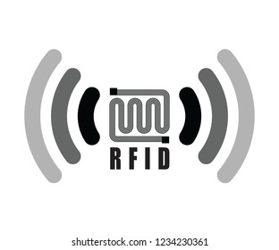 RFID icon vector in black and white