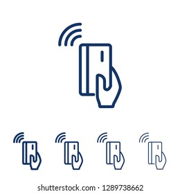 RFID payment vector line icon.Hand holding credit debit card. Contactless payment from credit card.