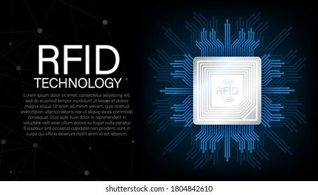 RFID Radio Frequency Identification. Technology concept. Digital technology. Vector stock illustration.