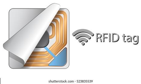 RFID square sticker tag. (Radio frequency identification tag).