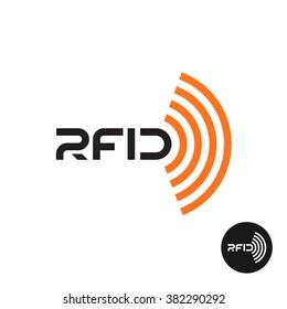 RFID tag icon. Text logo with radio wireless waves.