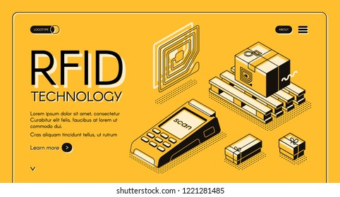 RFID technology for delivery tracking isometric vector web banner. Electromagnetic track tag on cargo and RFID reader line art illustration. Retail or shipment automation service landing page template