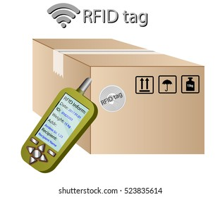 RFID tracking system. RFID technology. Reader radio frequency identification labels, parcel with a tag.