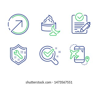 Rfp, Chemistry lab and Direction line icons set. Spanner, Night cream and Flight destination signs. Request for proposal, Lab research, Navigation pointer. Repair service. Vector