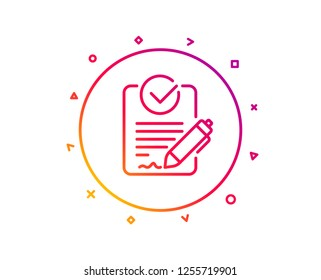 Rfp line icon. Request for proposal sign. Report document symbol. Gradient pattern line button. Rfp icon design. Geometric shapes. Vector