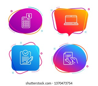 Rfp, Notebook and Calculator icons simple set. Repair document sign. Request for proposal, Laptop computer, Money management. Spanner tool. Business set. Speech bubble rfp icon. Vector