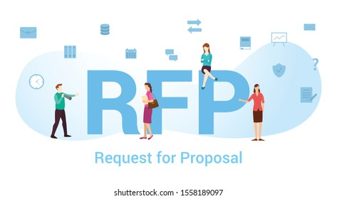 rfp request for proposal concept with big word or text and team people with modern flat style - vector