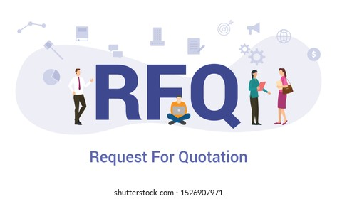 rfq request for proposal concept with big word or text and team people with modern flat style - vector