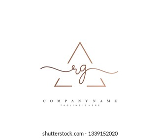 RG initial handwriting logo template vector