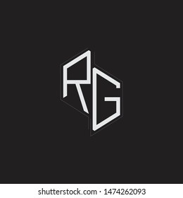 RG Initial Letters logo monogram with up to down style isolated on black background