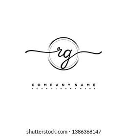 RG initial signature logo. handwriting logo template vector,