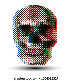 RGB halftone dot skull from 3D rendering vector illustration.