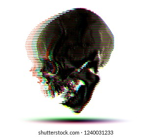 RGB halftone horizontal line skull from 3D rendering vector illustration.