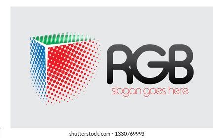 RGB halftone vector logo concept