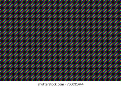 RGB Screen dots seamless pattern. Analog display television. Close Up Texture. Vector