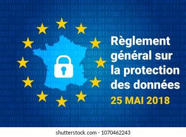 RGPD - French: Reglement general sur la protection des donnees means: GDPR - General Data Protection Regulation. France map. Vector illustration
