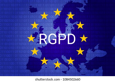RGPD is GDPR: general data protection relation in French, Italian, Spanish. Vector illustration. Europe map