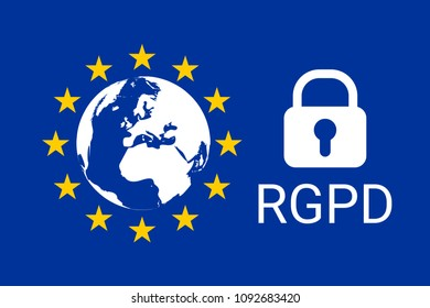 RGPD is GDPR: general data protection relation in French, Italian, Spanish. Vector illustration