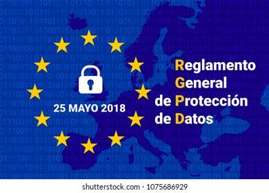 RGPD - spanish text: Reglamento General de Proteccion de Datos. GDPR - General Data Protection Regulation. Europe map. Vector illustration