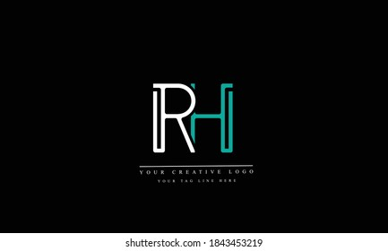 RH HR abstract vector logo monogram template