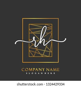 RH Initial Handwriting logo template vector