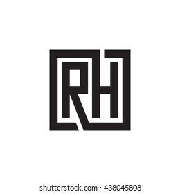 RH initial letters looping linked square monogram logo