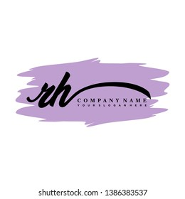 RH initial signature logo. handwriting logo template vector,