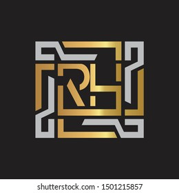 RH Letter logo initial capital monogram with abstract ornament