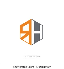 RH Logo Initial Monogram Negative Space Design Template With Grey and Orange Color - Vector EPS 10