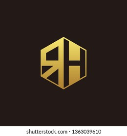 RH Logo Monogram with Negative space gold colors