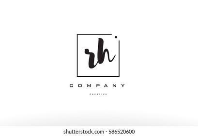 rh r h hand writing written black white alphabet company letter logo square background small lowercase design creative vector icon template