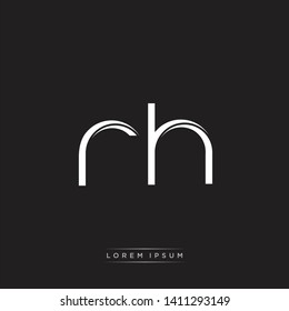 rh r h logo Initial Letter Split Lowercase Modern Isolated on Black White