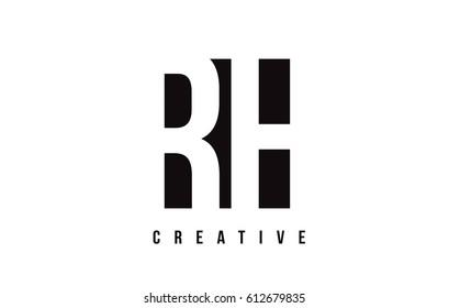RH R H White Letter Logo Design with Black Square Vector Illustration Template.