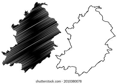 Rhein-Hunsruck-Kreis district (Federal Republic of Germany, State of Rhineland-Palatinate) map vector illustration, scribble sketch Rhein Hunsrueck Kreis map