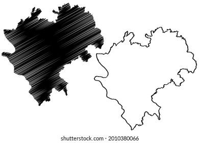 Rhein-Lahn-Kreis district (Federal Republic of Germany, State of Rhineland-Palatinate) map vector illustration, scribble sketch Rhein Lahn Kreis map
