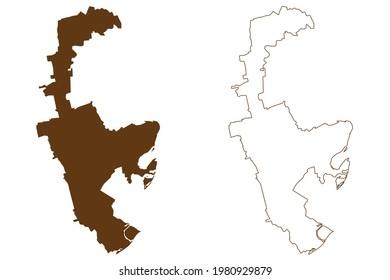 Rhein-Pfalz-Kreis district (Federal Republic of Germany, State of Rhineland-Palatinate) map vector illustration, scribble sketch Rhein Pfalz Kreis map