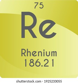 Re Rhenium Transition metal Chemical Element vector illustration diagram, with atomic number and mass. Simple gradient flat design For education, lab, science class.