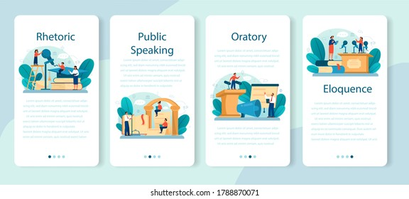Rhetoric or elocution school class mobile application banner set. Voice training and speech improvement. Public speaking and voice projection techniques. Isolated flat vector illustration