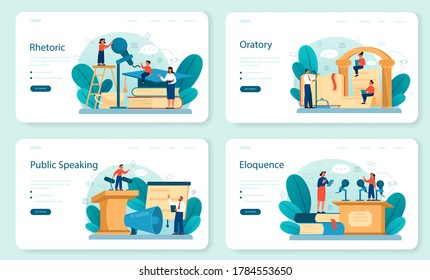 Rhetoric or elocution school class web banner or landing page set. Voice training and speech improvement. Public speaking and voice projection techniques. Isolated flat vector illustration