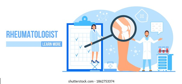 Rheumatologist vector concept. Osteoporosis world day. Tiny doctors research and treat osteoarthritis anatomical bones of human. Knee joint pain, fragility of lower leg are shown for landing page.