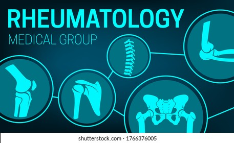 Rheumatology medicine, joints xray, rheumatic disorder medical health care. Vector human skeleton parts elbow, foot and pelvis, spine, knee and shoulder joints mri or computed tomography images poster