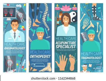 Rheumatology, traumatology and orthopedics or acupuncture medicine banners. Vector rheumatologist, orthopedist, and traumatologist doctors, Asian traditional needle treatment and clinic equipment