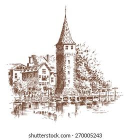The Rhine at Konstanz, Germany - Illustration