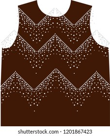 Rhinestone applique collar design for t-shirt or blouse hot-fix transfer. Abstract beautiful glitter applique rhinestone motif.