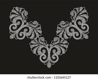 Rhinestone applique design, collar embellishment for clothes, t-shirt, textiles, prints. Heat transfer artwork