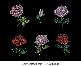 Rhinestone Applique Design, Rose design motif.