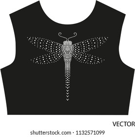 Rhinestone Applique Dragonfly Design. Embroidery pattern, Hot-fix design idea. T-shirt, prints and other uses